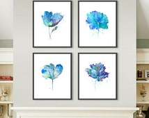Watercolor Blue flowers art print, flower painting, floral decor, blue decor, watercolor poster, nature art - Set of 4 - F22/F43/F40/F47