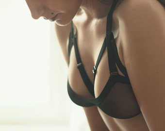 Black Cage Bra, Harness Bra, Sheer Bra, BDSM Lingerie, Strappy Bra, Bridal Bra, Cute Kinky Lingerie, Bondage Bra, Sexy Bustier, Black Bra