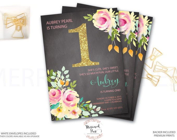 Chalkboard First Birthday Invitation //Roses// Peonies // Peony // ONE // Pink // Gold Glitter // Yellow// Peach // VENICE COLLECTION