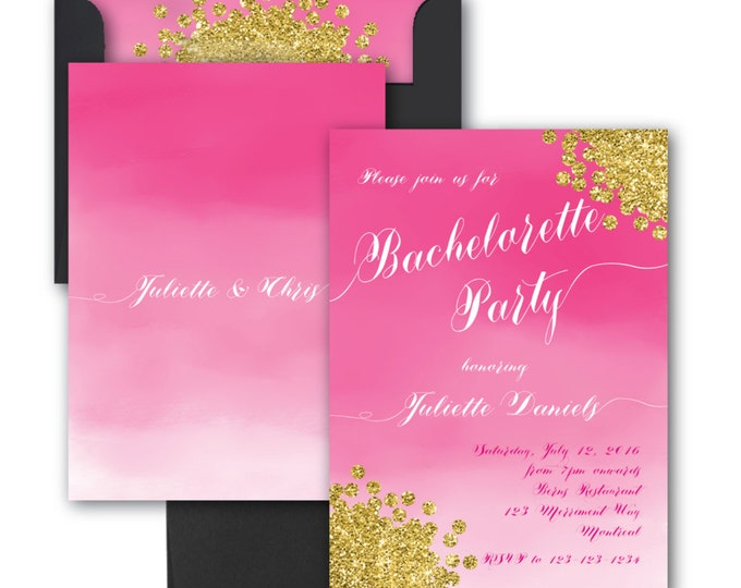 Bachelorette Party Invitation // Watercolor// Pink//Gold Glitter//Hens Night // Fuschia//Hot Pink//Ombre// MONTREAL COLLECTION