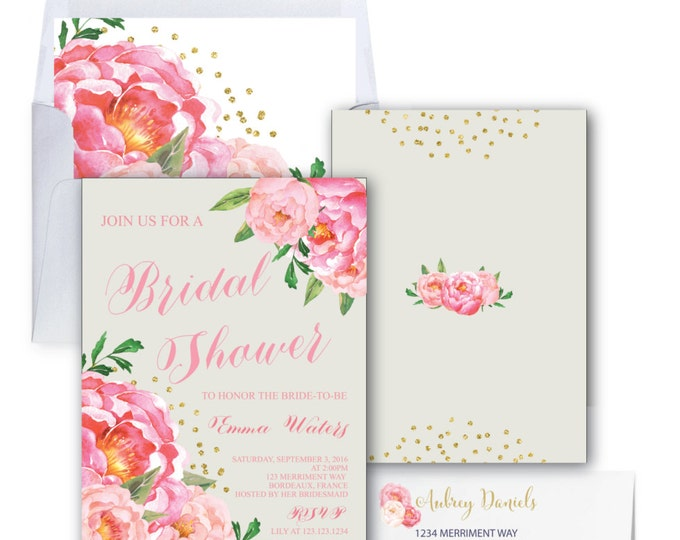 Bridal Shower Invitation // Grey // Gray // Peonies // Peony // Bridal Invite // Pink // Gold Glitter // BORDEAUX COLLECTION