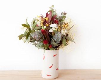 Selma vase - Chilli patterned porcelain vase. Handmade homewares