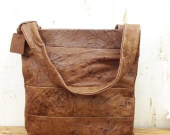 Sale!!! Distressed brown leather tote bag leather handbag Soft leather bag Handmade wrinkled leather bag