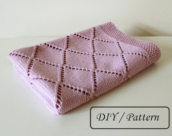 Knit baby blanket pattern / baby blanket pattern / baby blanket knitting pattern / knitting pattern for babies