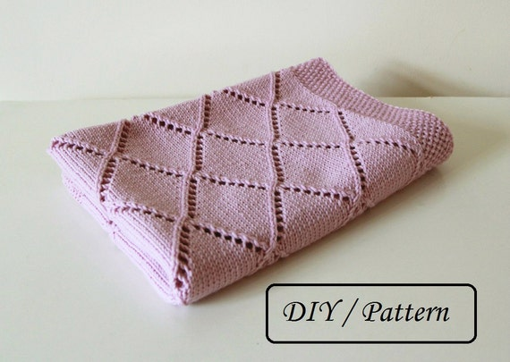 Knitted Triangle Pattern Baby Blanket : Knit baby blanket pattern / baby blanket pattern / baby
