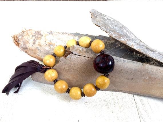 Leather Tassel Stretch Bracelet, Bohemian Wood Bracelet, Boho Style Jewelry, Boutique Fashion Jewelry, Natural Wood Bracelet