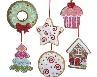 Gingersnap Cookie Clay-dough Ornaments, 3-1/2-Inch, 6-Pieces