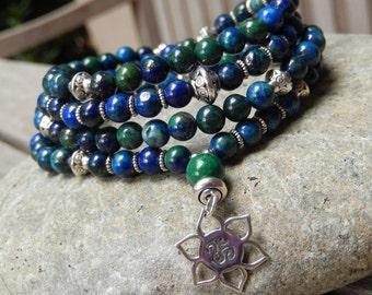 Azurite Mala, Yoga Bracelet, Meditation Necklace, 108 Prayer Beads, Lotus/OM Mala, Chakra Mala, Reiki infused