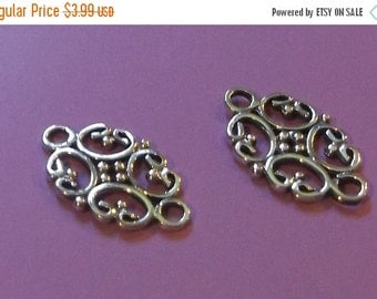 10% off Two (2) BALI .925 Sterling Silver 17x12mm Filigree Link Components #010