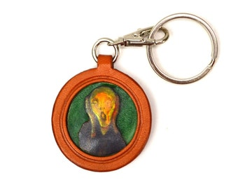 Munch's The Scream 3D Leather Plate Keychain Purse  Charm Accessory *VANCA* Made in Japan #26083 Free Shipping