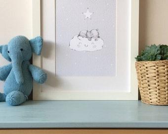 Grey - Baby Elephant on Cloud Nursery Wall Art