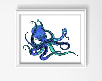 Octopus, Art Print, Bathroom Decor, Octopus Beach Print, Octopus Art, Beach Decor, Bathroom Wall Art, Home Decor, Nursery Decor P1024A