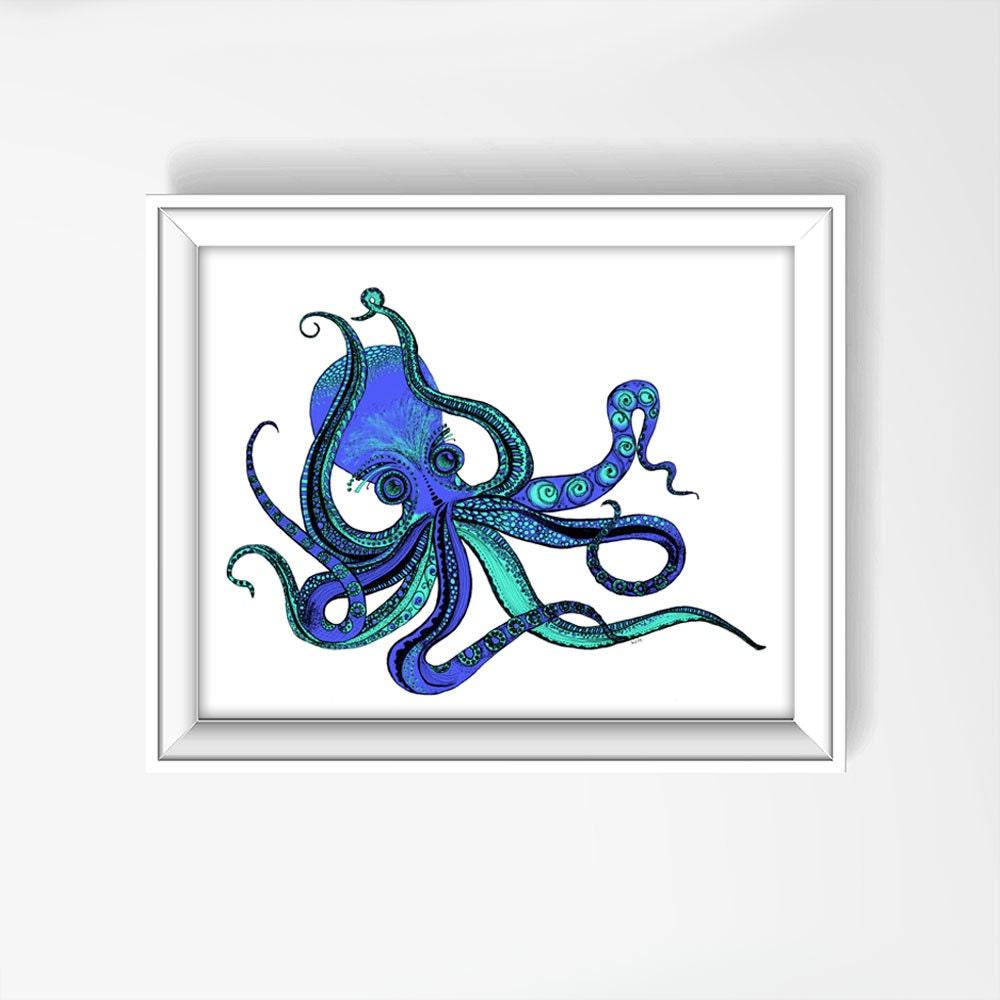 Octopus Print Octopus Art Hand Drawn Octopus Octopus Decor
