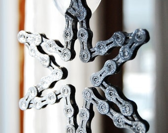 UpCYCLEd bike chain Glittery Snowflake Ornament