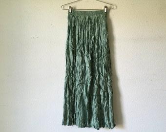 Vintage Skirt - Sage Crinkle Wrinkle Tiered Maxi Skirt Goth Punk Grunge Boho