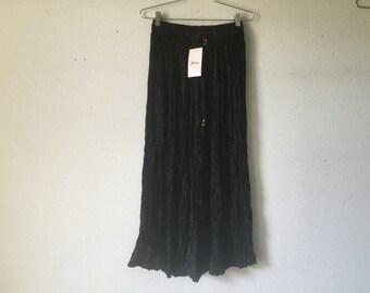 Vintage 80s Drawstring Maxi Black Velvet Skirt Hippie Bohemian Skirt