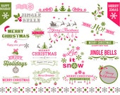 Instant Download Christmas Digital Clipart Christmas Border Frames Clip Art Green Pink Christmas Scrapbook Embellishment Decor 0363