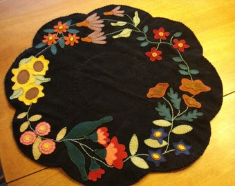 Wool Applique Table Mat Runner Centerpiece Multi-colored Floral Design, Handmade, 21 inches