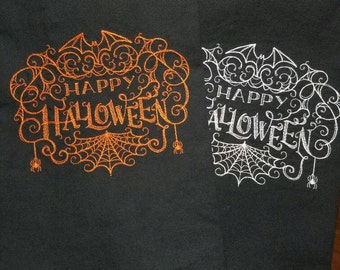 Spiderwebby Happy Halloween Embroidered Towel - Ready to Ship