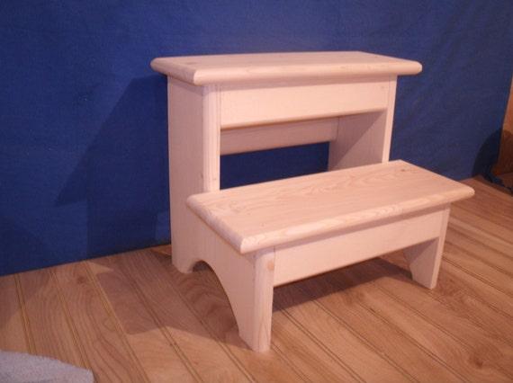 rustic wooden step stool 2 step wooden step stool wooden. Black Bedroom Furniture Sets. Home Design Ideas
