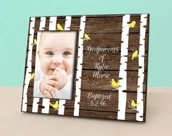 Godparents Gift - Baptism Christening Gift - Rustic Birch Trees Personalized Picture Frame - Godmother Godfather gift - Photo Frame -PF1297