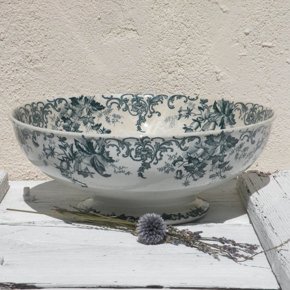 French antique ironstone transferware bowl, antique fruit bowl, shabby chic, footed bowl, green transferware, cottage chic, country home