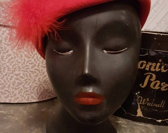1950s Pillar Box Red Wool Hat ~ Feather Detail