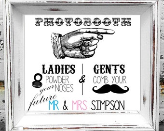 Personalised Wedding Photobooth Sign Available In Various Sizes