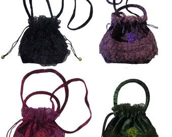 Velvet Lace VICTORIAN Gothic Steampunk Bag Purse Black Purple Burgundy Green Drawstring Pull Evening HALLOWEEN