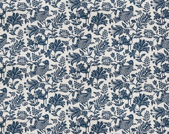 Upholstery, Floral, Blue Fabric by the Yard, Home Decor, Drapery Curtains, Designer, Remnant Fabric, Pillow Fabric, Sewing