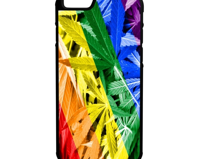 LGBT Marijuana Weed Flag iPhone Galaxy Note LG HTC Protective Hybrid Rubber Hard Plastic Snap on Case Black