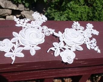 Vintage White Lace Rose Appliques
