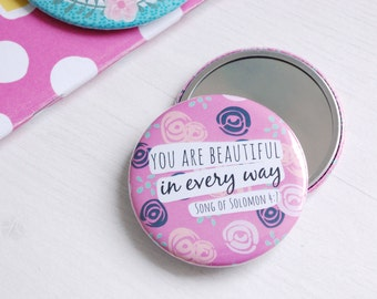 Pink Floral Pocket Mirror | Compact Mirror | Teacher Gift | Gifts for Women | Christian Gifts