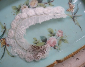 Exquisite antique curled feather, Edwardian millinery