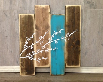 Wood Wall Decor - Cherry Blossom - Wall Decor - Staggered Sign