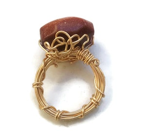 Gold Sandstone Ring in a Gold Wire-Wrapped Design - Size 5.5 - RIN065