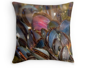 Mussel Shells Pillow, Life Aquatic, Beach Decor, Underwater Photography, Mussels Cushion, Seafood Decor, Shell Cushions, Ocean Decor