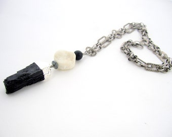 Black Tourmaline Necklace, Boho Chic, White Druzy Coin, Textured Chain, Raw Black Tourmaline Pendant, Layering Necklace