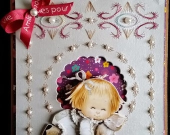 """embroidered, 3d card morehead """"friends forever"""""""