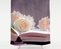 shower curtain, bathroom decor, modern shower curtain, photo curtain, flower curtain, purple curtain, roses flower floral