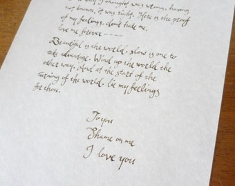 Hand-written love letter in calligraphy on parchment, matching envelope included