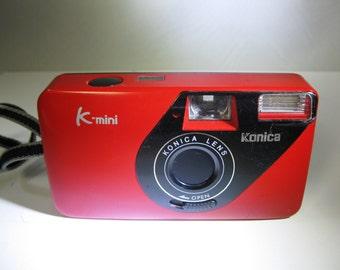 Very Rare Vintage Konica K-mini Lomography 35mm camera Red 28mm Konica Lens