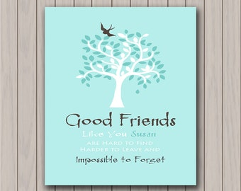 Good Friends - Personalized - Birthday Gift - Moving Away Gift - Friendly Bird in Leafy Tree - Available in Any Color