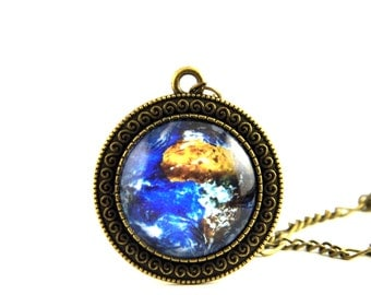Earth image pendant. Space pendant. Galaxy pendant.Solar system jewelry.Space jewelry.Planet necklace.Earth jewelry