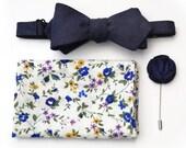 Bow tie + Pocket square + Lapel flower