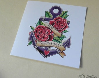 Tattoo Anchor & Roses Birthday Card Rockabilly Sailor Nautical Flash Traditional