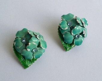 Clearance Beautiful Vintage Gold Tone Blue & Green Enamel Clear Rhinestone Leaf Flower Floral Clip On Earrings