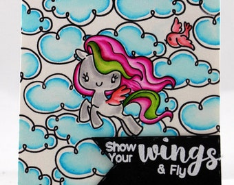 Show your wings and fly Unicorn in the sky card