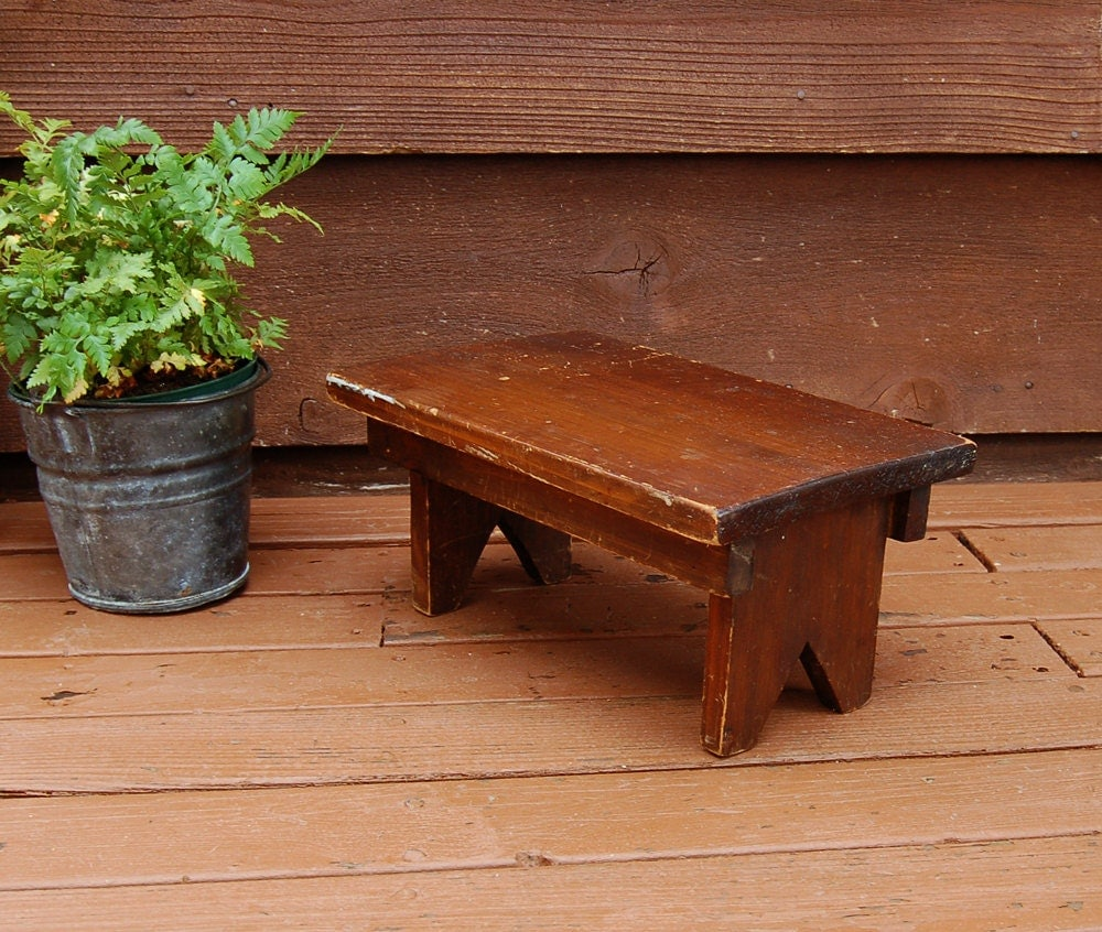 Small Wooden Bench Vintage Wooden Step Stool Rustic Wood
