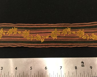 "Beautiful woven ribbon trim from Renaissance Ribbons - green and gold/brown - 2"" wide - 3 yards"